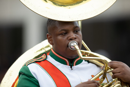 Indianapolis, Indiana, USA - September 22, 2018: The Circle City Classic Parade, Members of the Morgan Park High School Marching band from Chicago Illinois Home of the Mustangs