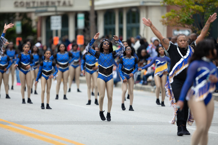 Indianapolis, Indiana, USA - September 22, 2018: The Circle City Classic Parade, Dancers from the group Dimond Divis from Indianapolis, dancing during the parade Editorial