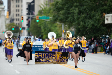 Indianapolis, Indiana, USA - September 22, 2018: The Circle City Classic Parade, Members of the Briggs Marching Band from Ohio perform at the parade