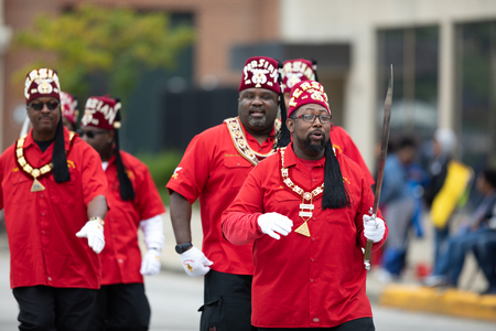 Indianapolis, Indiana, USA - September 22, 2018: The Circle City Classic Parade, Members of Persian Temple No. 46 walking down the street at the parade