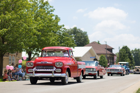 Kokomo, Indiana, USA - June 30, 2018: Haynes Apperson Parade, A classic truck Chevrolet Apache going down the road during the parade