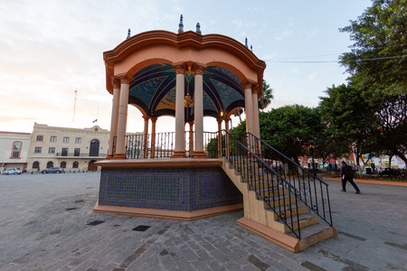 Quiosco in Main Plaza Miguel Hidalgo Matamoros with wide-angle lens. Editorial