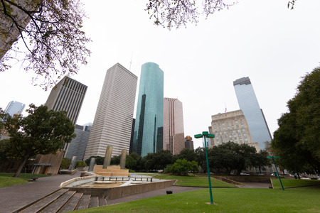 Houston Skyline as seen from Tranquillity Park with wide-angle lens