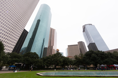 Houston Skyline as seen from Hermann Square with wide-angle lens
