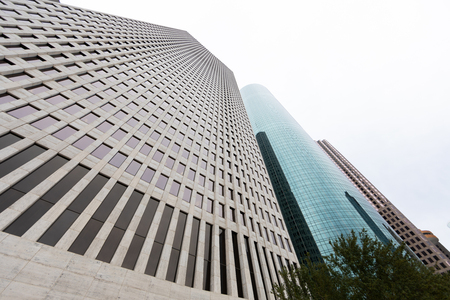 Houston Skyscrapers as seen from the sidewalk with a wide-angle lens