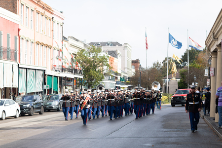 New Orleans, Louisiana USA - November 24, 2018: The Bayou Classic Parade, United States Marine Corps marching band performing at the parade.