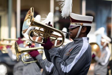 New Orleans, Louisiana USA - November 24, 2018: The Bayou Classic Parade, McDonogh Senior High marching band, performing at the parade