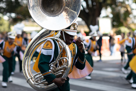 New Orleans, Louisiana USA - November 24, 2018: The Bayou Classic Parade, Members of the  Langston Hughes High School marching band performing at the parade 報道画像