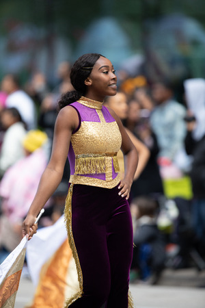 Houston, Texas, USA - November 22, 2018 The H-E-B Thanksgiving Day Parade, Members of the Prairie View A&M University Marching Storm, perform during the parade