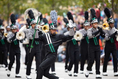 Houston, Texas, USA - November 22, 2018 The H-E-B Thanksgiving Day Parade, Members of the Hightower High School Marching Hurricanes Band, performing at the parade