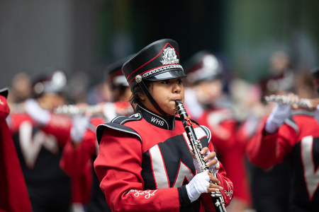 Houston, Texas, USA - November 22, 2018 The H-E-B Thanksgiving Day Parade, Waltrip High School, Marching band Performing at the parade