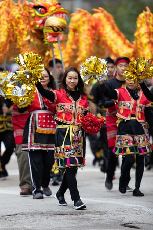 Houston, Texas, USA - November 22, 2018 The H-E-B Thanksgiving Day Parade, People from Taiwan perform  the dragon dance from China at the parade Editorial