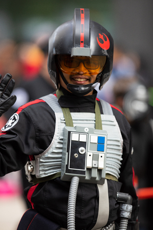 Houston, Texas, USA - November 22, 2018 The H-E-B Thanksgiving Day Parade, People dress up as star wars characters, Imperial Fighter Pilot