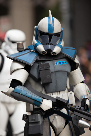 Houston, Texas, USA - November 22, 2018 The H-E-B Thanksgiving Day Parade, People dress up as star wars characters, storm troopers