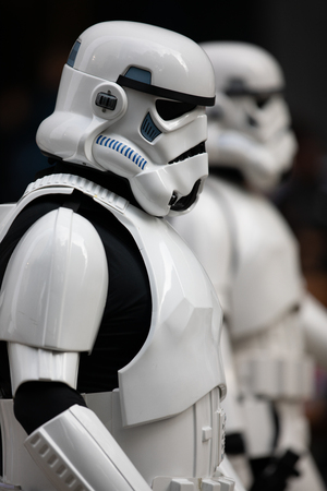 Houston, Texas, USA - November 22, 2018 The H-E-B Thanksgiving Day Parade, People dress up as star wars characters, storm troopers Reklamní fotografie - 116970462