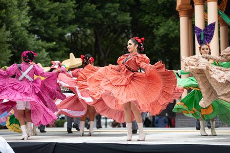 Matamoros, Tamaulipas, Mexico - November 20, 2018: The November 20 Festival, Young men and women wearing traditional mexican clothing, perform traditional mexican dances at the Plaza Miguel Hidalgo. Editorial