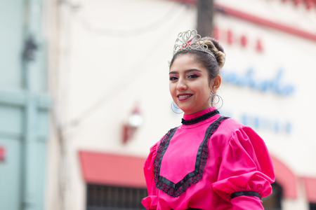 Matamoros, Tamaulipas, Mexico - November 20, 2018: The November 20 Parade, Young woman Beauty queen wearing traditional mexican clothing Editorial