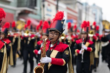 Matamoros, Tamaulipas, Mexico - November 20, 2018: The November 20 Parade, Marching Band performing at the parade
