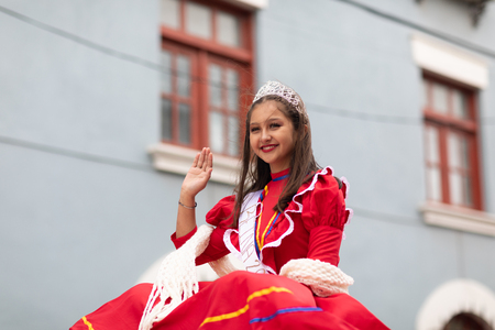 Matamoros, Tamaulipas, Mexico - November 20, 2018: The November 20 Parade, Young woman Beauty queen wearing traditional mexican clothing Editöryel
