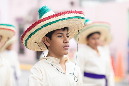 Matamoros, Tamaulipas, Mexico - November 20, 2018: The November 20 Parade, Young men wearing traditional mexican clothing with sombreros at the parade