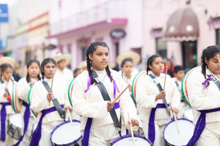 Matamoros, Tamaulipas, Mexico - November 20, 2018: The November 20 Parade, Marching Band performing at the parade while wearing sombreros and traditional clothing Editorial