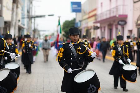 Matamoros, Tamaulipas, Mexico - November 20, 2018: The November 20 Parade, Marching Band with military Style uniform performing at the parade