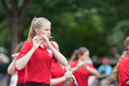 Washington, D.C., USA - May 28, 2018: The National Memorial Day Parade, The Peters Township High School Mighty Indian Marching Band from McMurray, Pennsylvania, going down Contitution Avenue