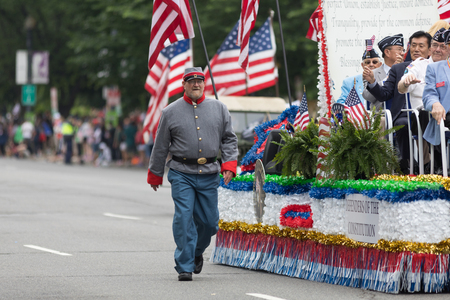 Washington, D.C., USA - May 28, 2018: The National Memorial Day Parade, Man dress up as a Confederate Civil War soldier, going down constitution avenue