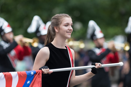 Washington, D.C., USA - May 28, 2018: The National Memorial Day Parade, The Searcy High School Marching Lion Band from Searcy, Arkansas, going down constitution avenue Editorial