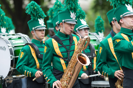 Washington, D.C., USA - May 28, 2018: The National Memorial Day Parade, Members of the Notre Dane High School Band, marching down Constitution Avenue