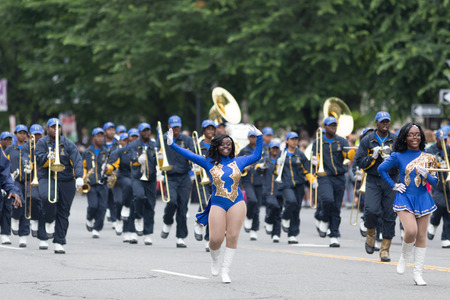 Washington, D.C., USA - May 28, 2018: The National Memorial Day Parade, Members of the Ballou H.S. Marching Knights, marching down Constitution Avenue Editorial