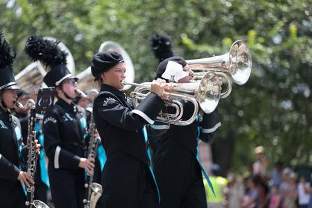 Washington, D.C., USA - July 4, 2018, The National Independence Day Parade, The Ronald Reagan High School, Band Of Raiders, from Pfafftown, North Carolina