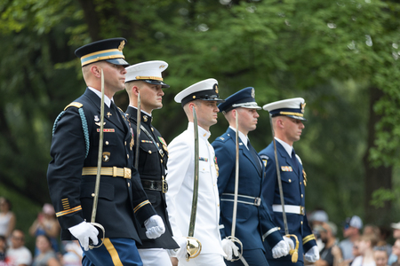 Washington, D.C., USA - July 4, 2018, Members of the United states military march with swords at the National Independence Day Parade 에디토리얼