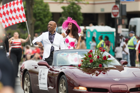 Louisville, Kentucky, USA - May 03, 2018: The Pegasus Parade, Montel Williams TV show host, riding on a car going down W Broadway Editorial