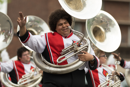 Louisville, Kentucky, USA - May 03, 2018: The Pegasus Parade, Marching band from the University of Louisville going down W Broadway