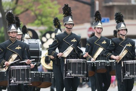 Louisville, Kentucky, USA - May 03, 2018: The Pegasus Parade, Members of the North Allegheny High School, Marching Band from Pittsburgh, Pennsylvania, perform during the parade Editorial