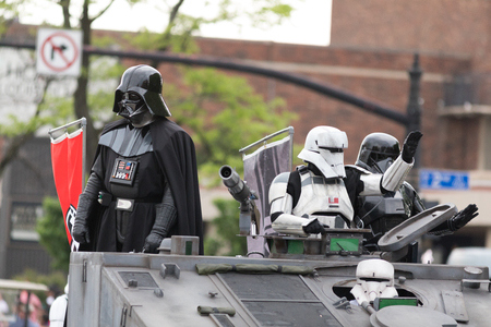 Louisville, Kentucky, USA - May 03, 2018: The Pegasus Parade, Members of the Vader's Fist, 501st legion, wearing star wars costumes, going down W Broadway Sajtókép
