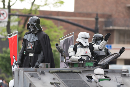 Louisville, Kentucky, USA - May 03, 2018: The Pegasus Parade, Members of the Vaders Fist, 501st legion, wearing star wars costumes, going down W Broadway
