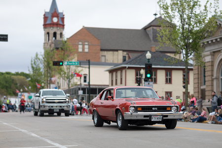 Stoughton, Wisconsin, USA - May 20, 2018: Annual Norwegian Parade, Classic car Chevrolet Nova SS, going down the road during the parade