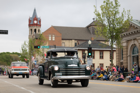 Stoughton, Wisconsin, USA - May 20, 2018: Annual Norwegian Parade, A chevrolet pickup truck classic, going down the road during the parade