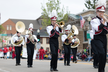 Stoughton, Wisconsin, USA - May 20, 2018: Annual Norwegian Parade, The Edgerton High School Band performing during the parade Editorial