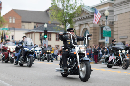 Stoughton, Wisconsin, USA - May 20, 2018: Annual Norwegian Parade, Members of the American Legion, riding motorcycles during the parade