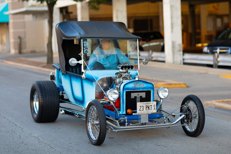 Springfield, Illinois, USA - September 22, 2018: The Route 66 Mother Road Festival, Ford Model T Hot Rod, driven on the streets of downtown Springfield