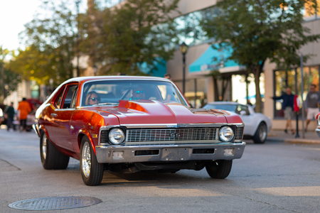 Springfield, Illinois, USA - September 22, 2018: The Route 66 Mother Road Festival, Chevrolet Nova SS being driven on the streets of downtown Springfield