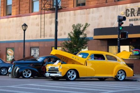 Springfield, Illinois, USA - September 22, 2018: The Route 66 Mother Road Festival, 1948 Chevrolet Fleetline on the streets of downtown Springfield