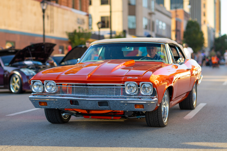Springfield, Illinois, USA - September 22, 2018: The Route 66 Mother Road Festival, Chevrolet Chevelle being driven on the streets of downtown Springfield 報道画像