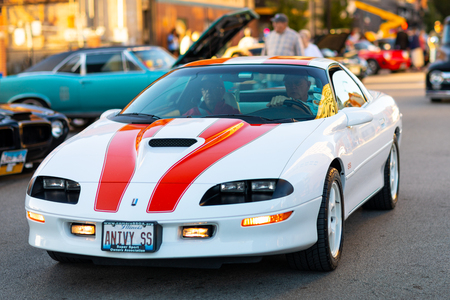 Springfield, Illinois, USA - September 22, 2018: The Route 66 Mother Road Festival, Chevrolet Camaro being driven on the streets of downtown Springfield