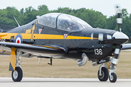 Indianapolis, Indiana, USA - June 23, 2012: Indianapolis Airshow, EMB 312 Tucano taxing after landing