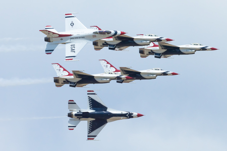 Indianapolis, Indiana, USA - June 23, 2012: Indianapolis Airshow, Thunderbirds performing high speed formation flying