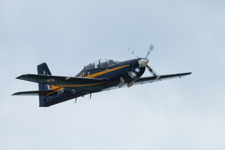Indianapolis, Indiana, USA - June 23, 2012: Indianapolis Airshow, EMB 312 Tucano, performing a low level fly past during the airshow